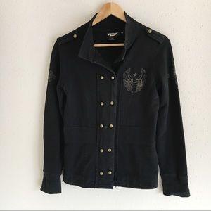 Harley Davidson Black Embroidered Button Jacket